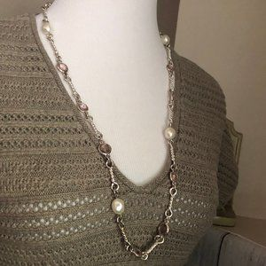 Silver Tone Bar Statement Necklace